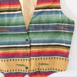 Vintage 90's southwest Aztec native tribal vest